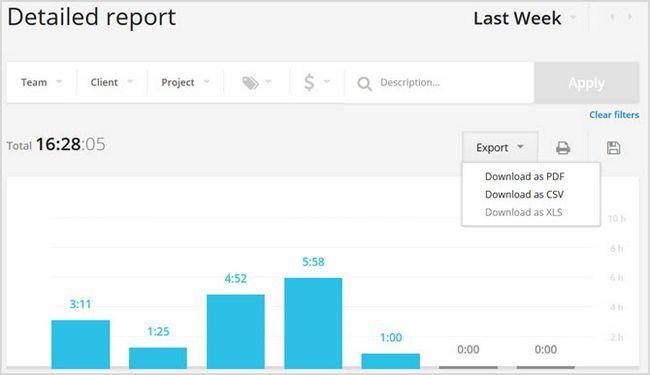 Toggl informes de Web