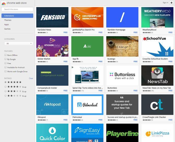 Chrome Web Store ejemplo ventanas