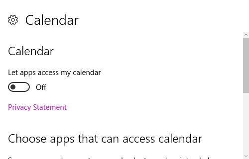 Configuración de privacidad de Windows 10 Calendario