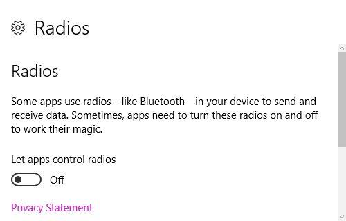 Configuración de privacidad de Windows 10 de Radiocomunicaciones