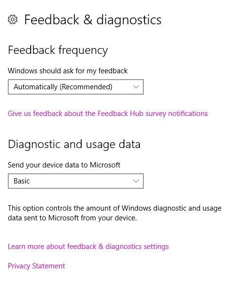Windows 10 Retroalimentación y la configuración de privacidad Diagnositcs