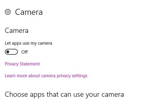 Configuración de privacidad de Windows 10 Cámara