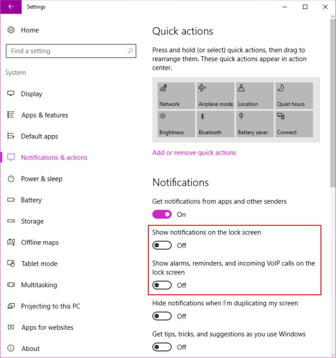 Configuración de pantalla de notificación de Windows 10 Lock