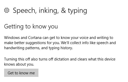 Windows 10, habla de entintado, y escribiendo la configuración de privacidad