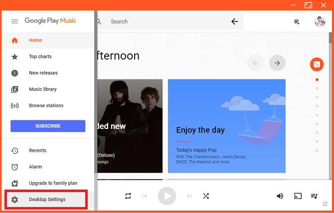 Ajustes del reproductor de escritorio de escritorio juego de música de Google