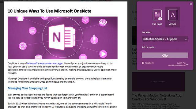 OneNote-podadoras en la Web