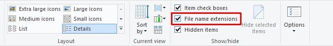 Extensiones de nombres de archivos de Windows 10