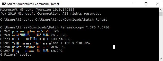 De modificación del archivo Extensión Comando XCopy