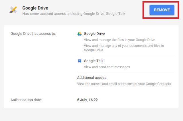 google-drive-revocación de acceso