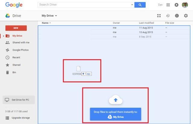 google-drive-de arrastrar y soltar a subir