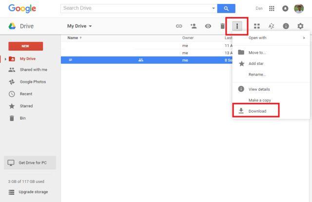google-drive-descarga de archivos