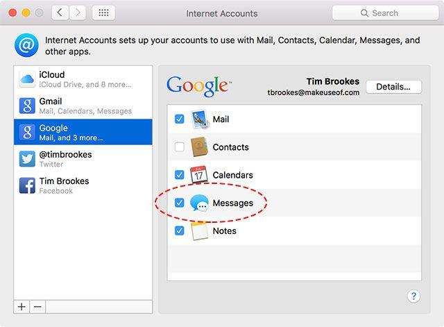 OS X Cuentas de Preferencias