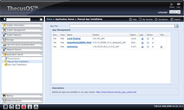 aplicación OS5 thecus instalar