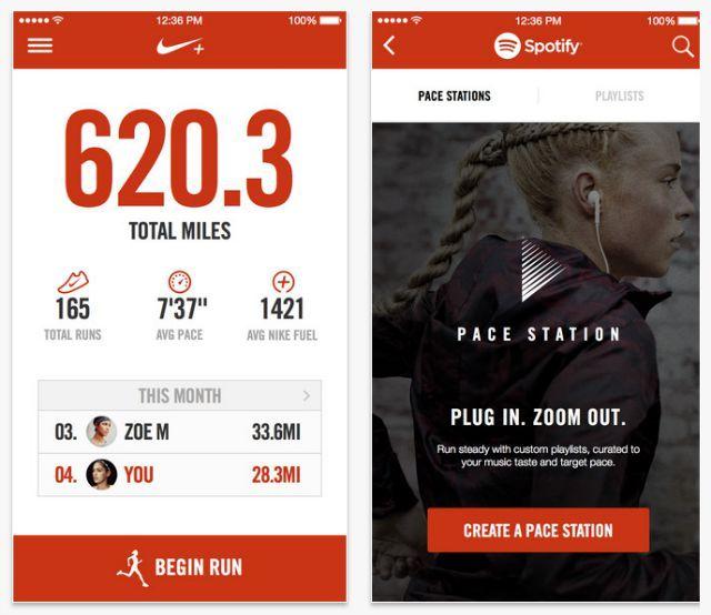Nike aplicación en ejecución