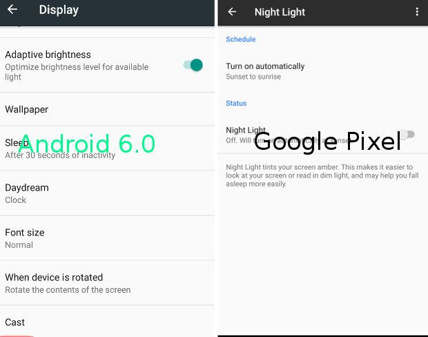 Google píxel vs Android