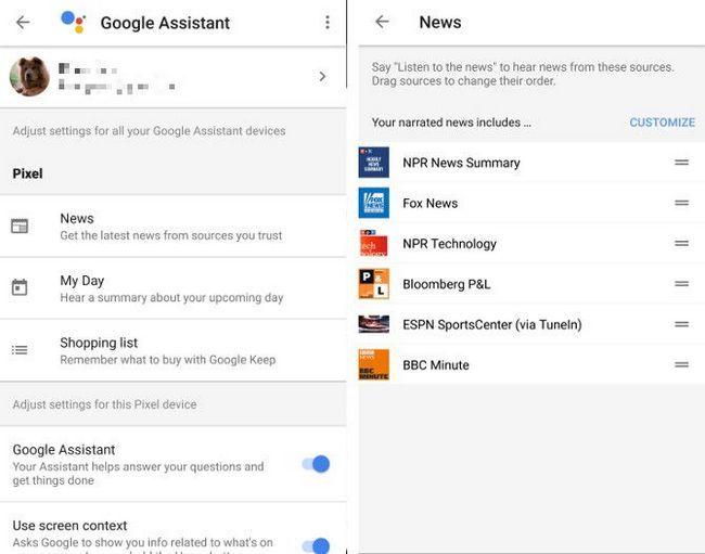 Google opciones de asistente de píxeles