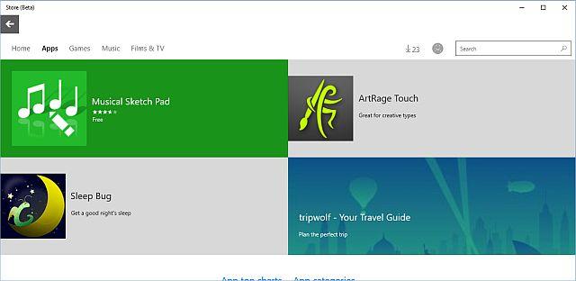 Windows 10 Beta tienda