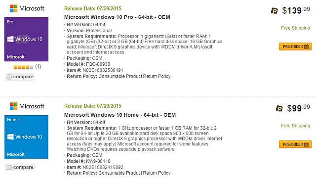 Newegg Windows 10 Fuga 1
