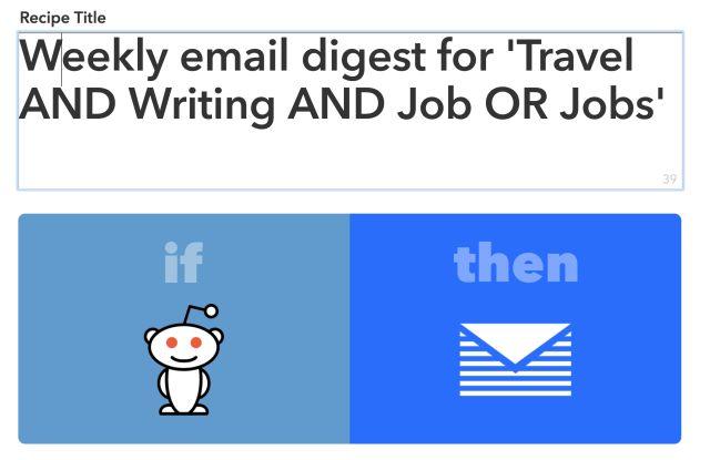 IFTTT y Reddit receta