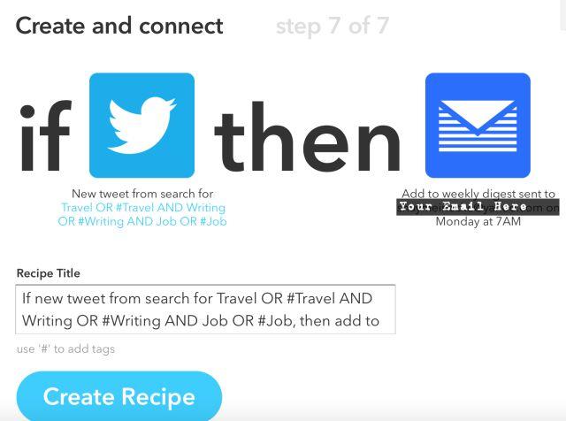 Si Twitter luego receta por correo electrónico Trabajo