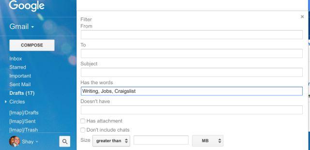 filtro de correo electrónico Gmail