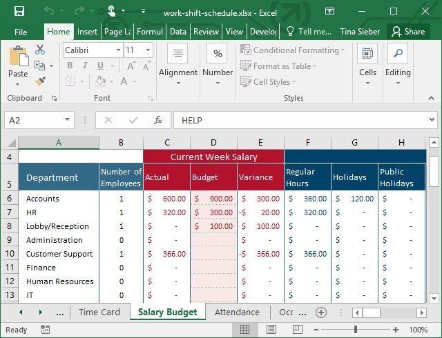 Turno de trabajo plantilla de Excel