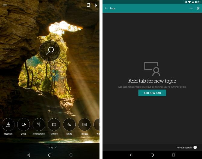 Buscar alternativas Android - Bing