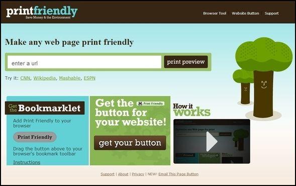 Página de inicio PrintFriendly