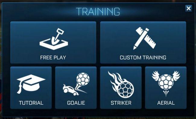 cohete de selección del modo de entrenamiento liga