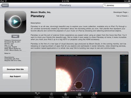 Convertir la música en tu ipad en un increíblemente divertido universo de ciencia ficción de la aplicación planetaria libre