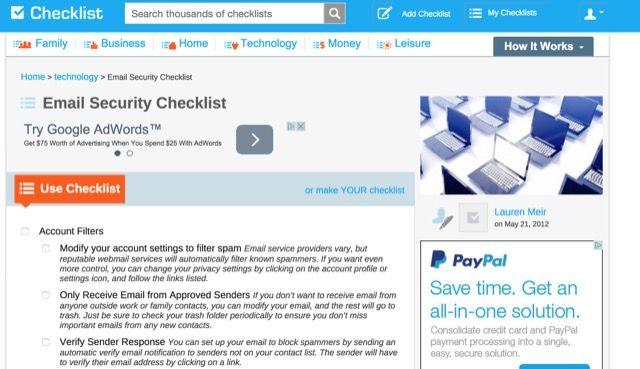 email-security-lista de comprobación