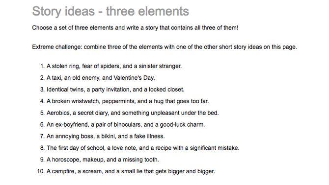 Escritura creativa Ideas para artículos 3 Elementos