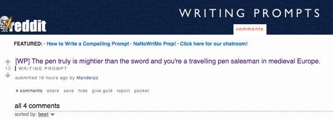 Reddit escritura creativa Avisos