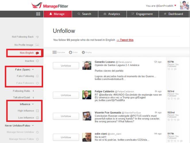 herramientas de Twitter: ManageFlitter