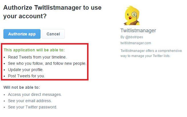 herramientas de Twitter: dar acceso a la cuenta