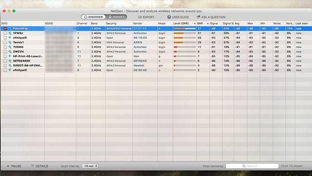 NetSpot-interface