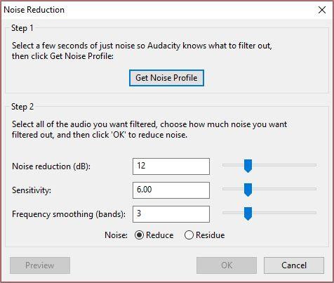 Audacity Audio Mejoras - Reducción de ruido