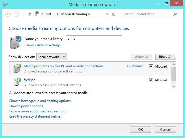 Windows 8.1 DLNA opciones de streaming de medios