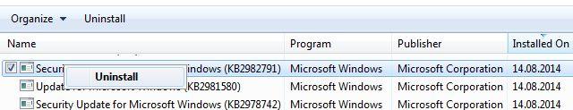 Desinstalación de Windows Update