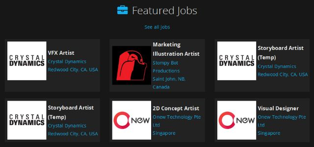 Artstation sitio web los listados de trabajos Captura de pantalla