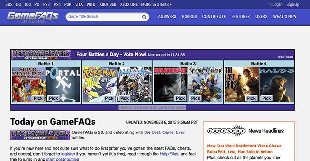 GameFAQs-homepage