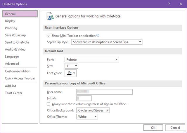 -configuración del escritorio de OneNote-interfaz