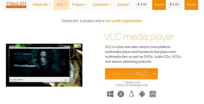 VLC Media Player Sitio Web Captura de pantalla