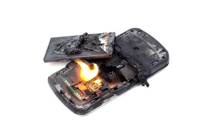 Quemado teléfono inteligente
