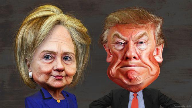 Clinton Trump Caricaturas