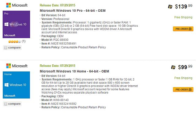 Newegg Windows 10 Fuga 1