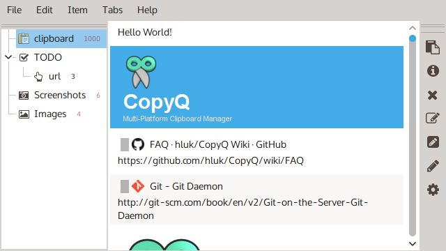 CopyQ Aplicación Captura de pantalla
