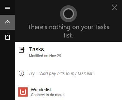 Cortana tareas wunderlist