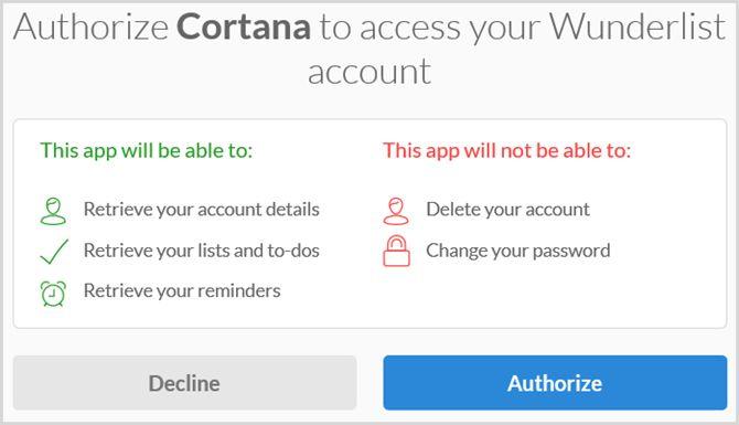 Cortana autorizar wunderlist