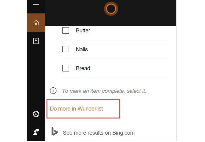 Cortana autoriza a hacer más wunderlist